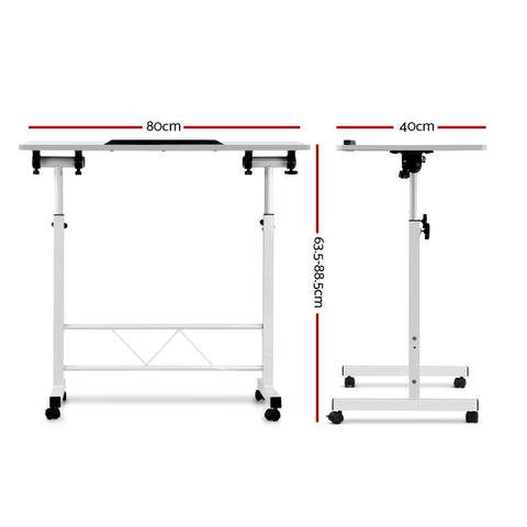 Portable Mobile Laptop Desk Height Adjustable Table Sit/Stand - White dimensions
