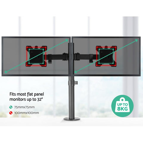 Dual LED Monitor Stand 2 Arm Hold Two LCD Screen TV Desk Mount Bracket 8kg capacity