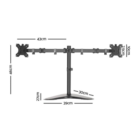 Dual HD LED Monitor Arm Stand TV Mount Holder 2 Arm Display Freestanding dimensions