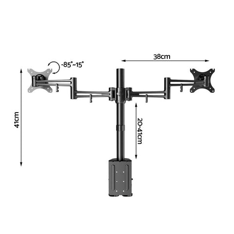 2 Arms Adjustable Monitor Screen Holder dimensions