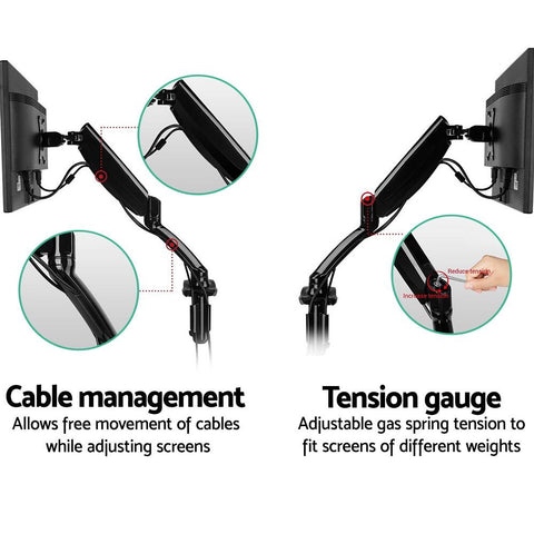 2 Arms Adjustable Monitor Screen Holder cable management system