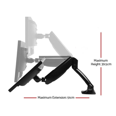 Adjustable Single Monitor Arm Desk Mounted - Black dimensions