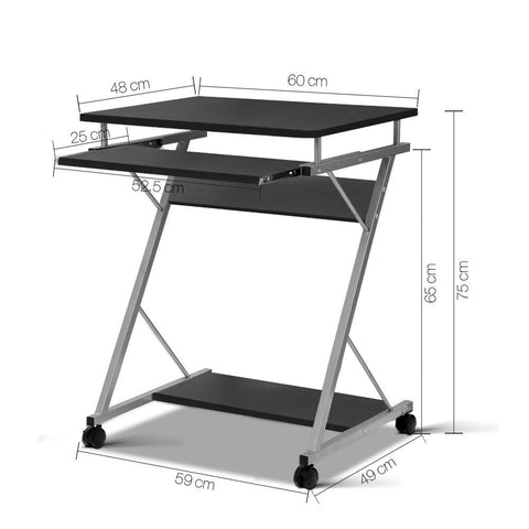 Metal Pull Out Computer Desk - Black dimensions