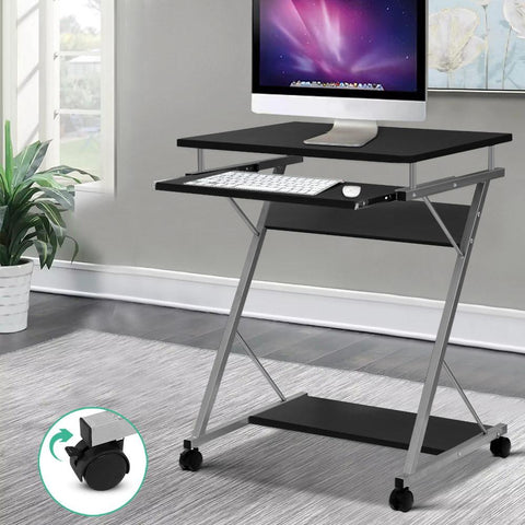 Metal Pull Out Computer Desk - Black computer table