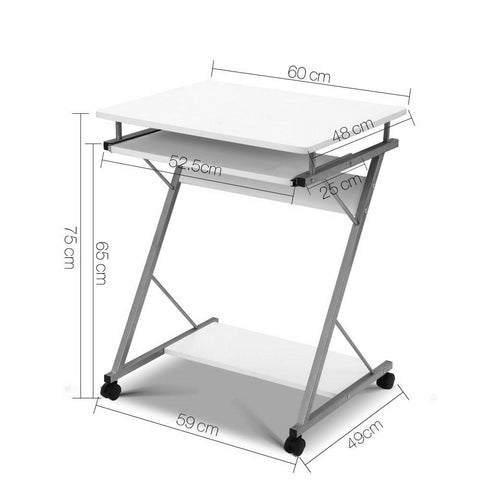 Metal Pull Out Computer Desk - White dimensions