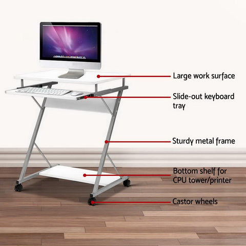 Metal Pull Out Computer Desk - White desk large work surface