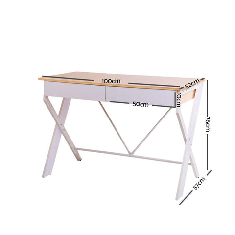 Metal Desk with Drawer - White with Oak Top dimensions