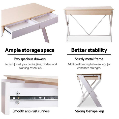 Metal Desk with Drawer - White with Oak Top white study desk