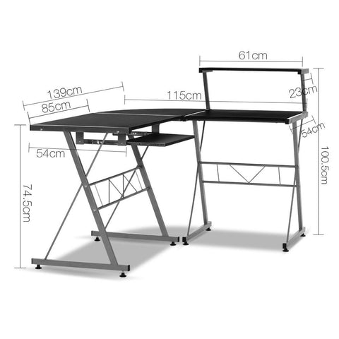 Artiss Corner Metal Pull Out Table Desk - Black dimensions
