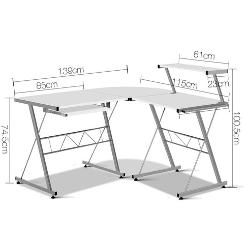 Artiss Corner Metal Pull Out Table Desk - White dimensions