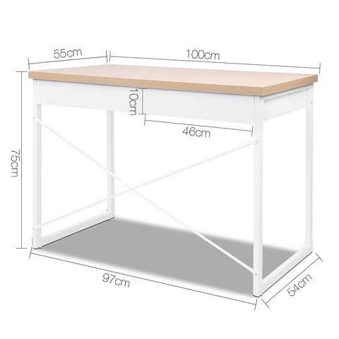 Metal Desk with Drawer - White with Wooden Top dimensions
