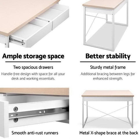Metal Desk with Drawer - White with Wooden Top ample storage space