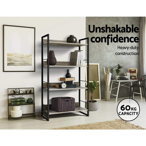 Artiss Book Shelf Display Shelves Corner Wall Wood Metal Stand solid construction