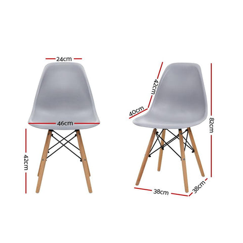 Eames Dining DSW Replica Retro Dining Chairs Wood Legs x 4 - Grey dimensions