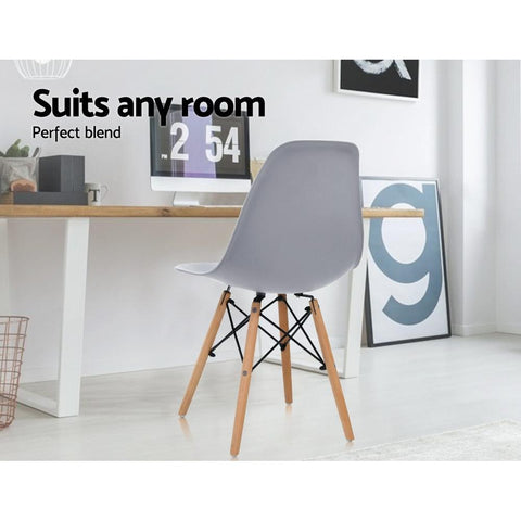 Eames Dining DSW Replica Retro Dining Chairs Wood Legs x 4 - Grey suits any room