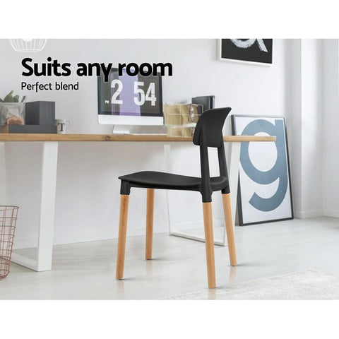 Artiss Belloch Replica Dining Chairs Stackable Beech Wood Legs x 4 - Black suit any room