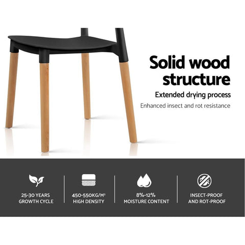Artiss Belloch Replica Dining Chairs Stackable Beech Wood Legs x 4 - Black solid wood structure