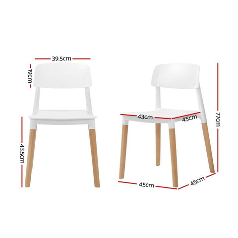 Artiss Belloch Replica Dining Chairs Stackable Beech Wood Legs x 4 - White dimensions