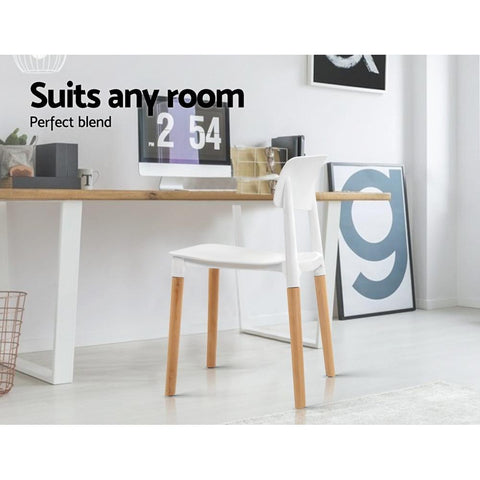 Artiss Belloch Replica Dining Chairs Stackable Beech Wood Legs x 4 - White suits any room