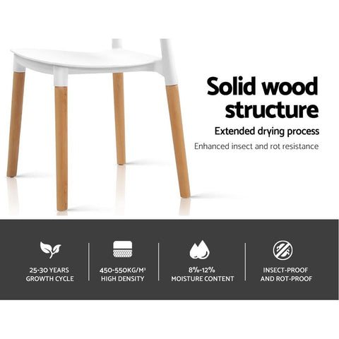 Artiss Belloch Replica Dining Chairs Stackable Beech Wood Legs x 4 - White solid wood structure