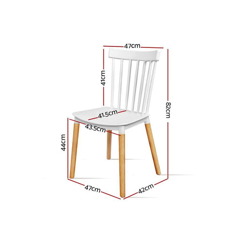 Artiss Dining Chairs Retro Wood Cafe Seat x 4 - White dimensions