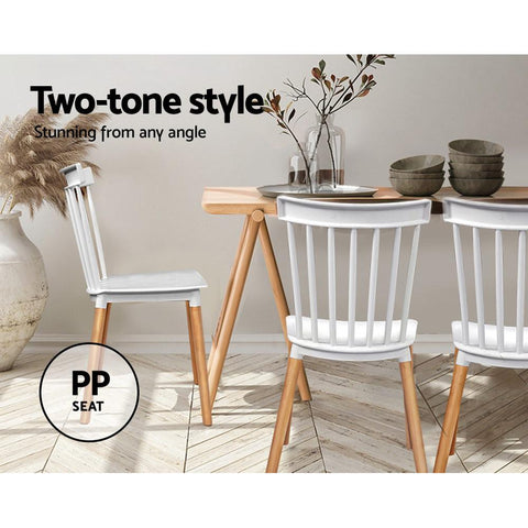 Artiss Dining Chairs Retro Wood Cafe Seat x 4 - White two tone styles