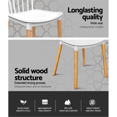 Artiss Dining Chairs Retro Wood Cafe Seat x 4 - White longlasting quality