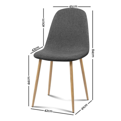 Artiss 'Adamas' Fabric Dining Chairs x 4 - Dark Grey dimensions