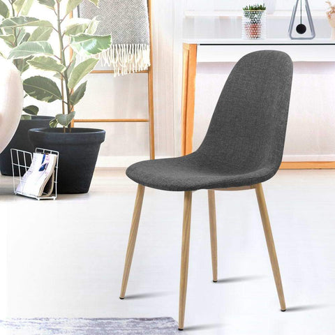 Artiss 'Adamas' Fabric Dining Chairs x 4 - Dark Grey great for offices