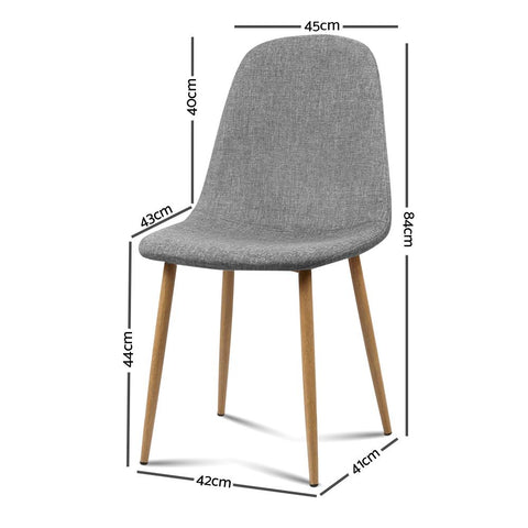 Artiss 'Adamas' Fabric Dining Chairs x 4 - Light Grey dimensions