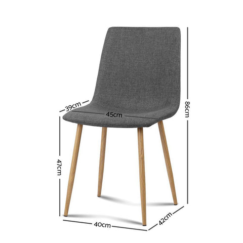 Artiss 'Collins' Dining Chairs x 4 - Dark Grey dimensions