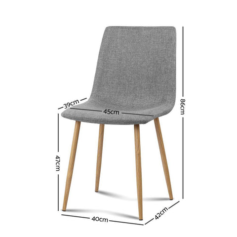 Artiss 'Collins' Dining Chairs x 4 - Light Grey dimensions