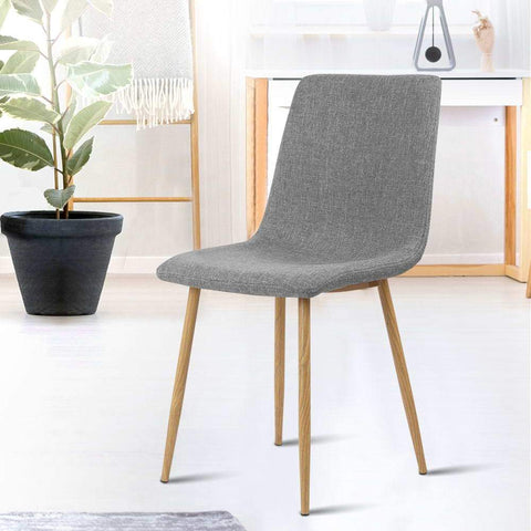 Artiss 'Collins' Dining Chairs x 4 - Light Grey office dining chairs