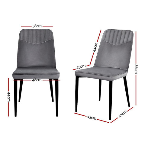 Artiss Dining Chairs Retro Chair Metal Legs High Back x 2 - Velvet Grey dimensions