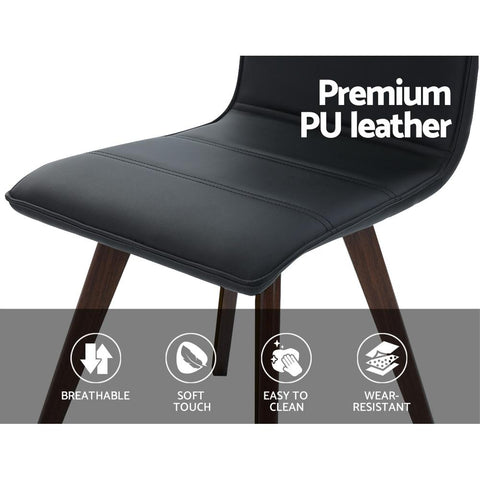 Artiss Dining Chairs Retro Chair New metal Legs High Back PU Leather x 2 - Black premium PU leather