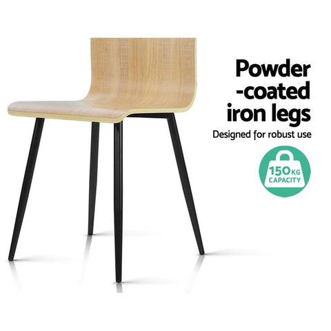 Artiss Dining Chairs Bentwood Seater Metal Legs Wooden x 4 powder coated legs 150kg capacity