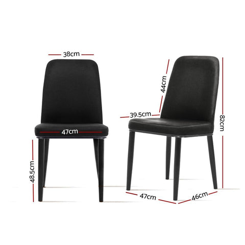 Artiss Dining Chairs Replica Black Fabric Padded Retro Iron Leg x 2 - Black dimensions