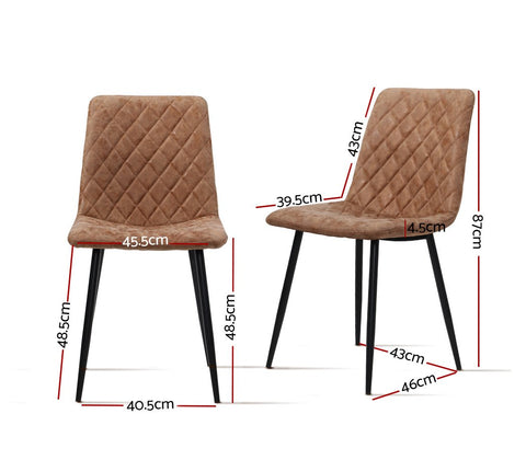 Artiss Dining Chairs Replica PU Leather Padded Retro Iron Legs x 2 - Brown dimensions