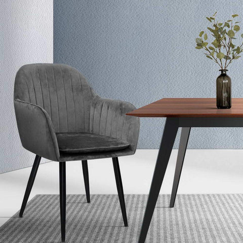 Artiss Dining Chairs Retro Metal Legs Armchair Velvet x 2 - Grey cheap dining chair