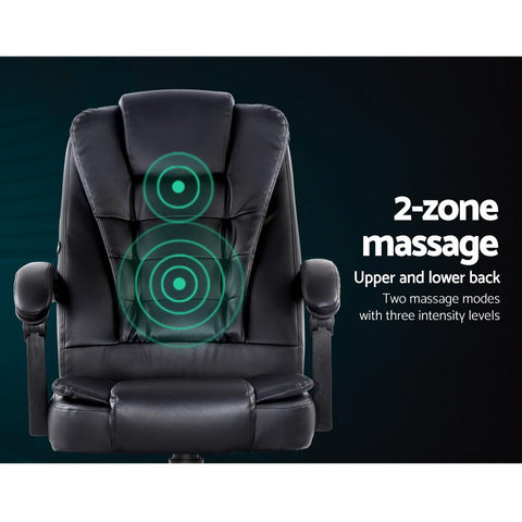 Artiss Electric Massage Office Chairs PU Leather Recliner Computer Gaming Seat - Black lower back massage chair