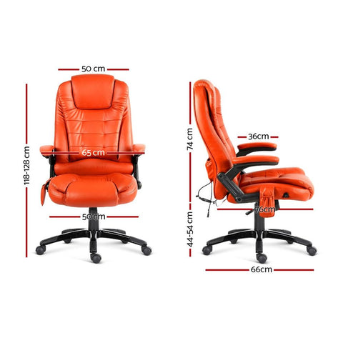 8 Point PU Leather Reclining Massage Chair dimensions