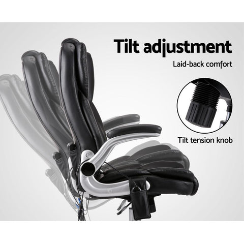 Artiss 'Kuro' 8 Point PU Leather Massage Chair tilt adjustment
