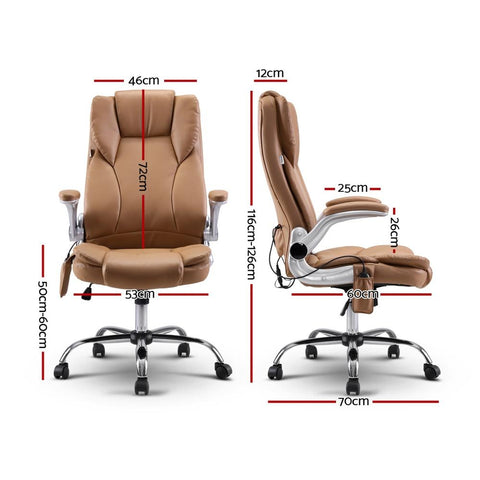 Artiss 'Kuro' Massage Office Chair Gaming Chair Computer Desk Chair 8 Point Vibration - Espresso dimensions