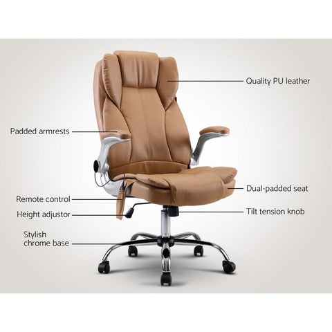 Artiss 'Kuro' Massage Office Chair Gaming Chair Computer Desk Chair 8 Point Vibration - Espresso executive features