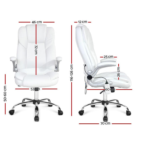 PU Leather 8 Point Massage Office Chair - White office chair