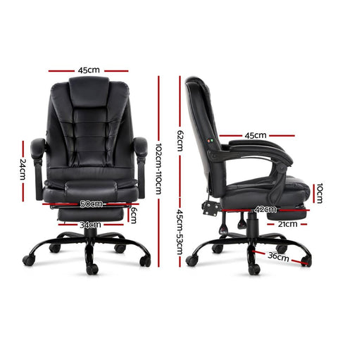 Artiss Electric Massage Office Chairs Recliner Computer Gaming Seat Footrest - Black dimensions