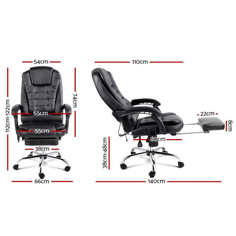 8 Point Reclining Message Chair with Footrest dimensions