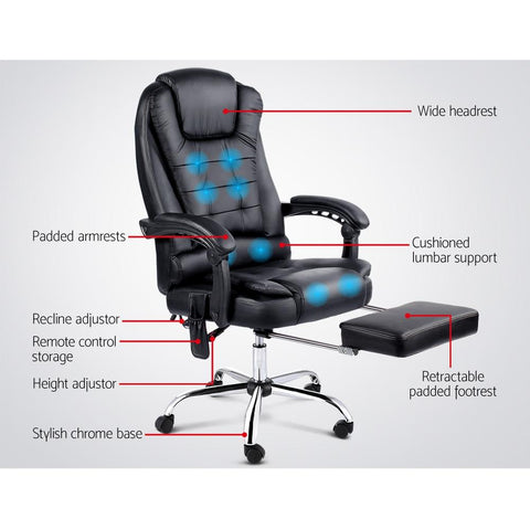 8 Point Reclining Message Chair with Footrest features