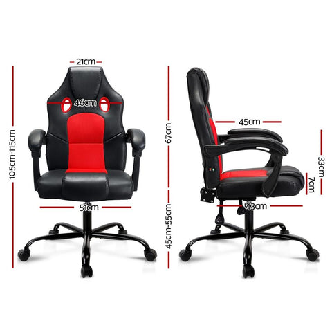 Artiss 'Khir' Massage Office Chair Gaming Computer Seat Recliner Racer - Red dimensions
