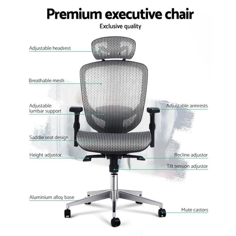 Fergus Office Chair Mesh Net Seating - Grey premium executive chair